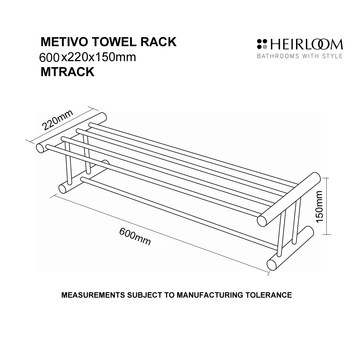 Hardware Direct Heirloom Metivo Towel Rack Mtrack
